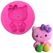 Lovely Hello Kitty shape Silicone Mold Cookware Dining Bar Non - Stick Cake Decorating fondant mould tools baking tools F0241