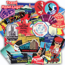55 Pcs Retro Style Travel Hotel Stickers for Laptop Suitcase Luggage Bike Skateboard Car Styling Phone Vinyl Decals DIY Sticker(China)