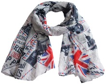 Free shipping ! NEW design Fashion UK flag print Scarf(China)