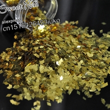 hot sell Charming sexy sequins glittering diamond nail decoration 3D LEI piece sequins Shallow Gold B0202(China)