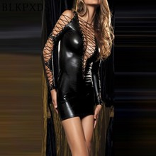 New Ladies Shiny Sexy Gothic Fetish Clubwear Deep-v Faux Leather PVC Catsuit Women Mini Dress Intimates Wholesale 5 10316(China)