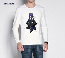 KOMNUDT 2017 New Fashion Japanese Anime Mechanical Girl Design Men T Shirt Creative Simple Casual Male Basic Tops Full Sleeve T(China)