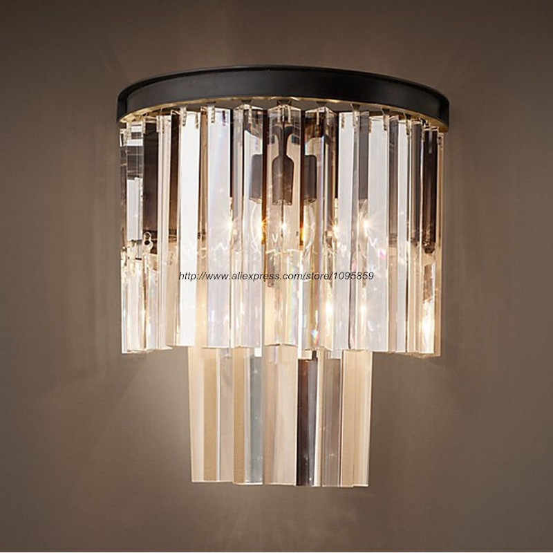 Modern Luxurious K9 Crystal Wall Sconces Lights Fixtures Bedroom Transparent Wall Lamps  <br><br>Aliexpress