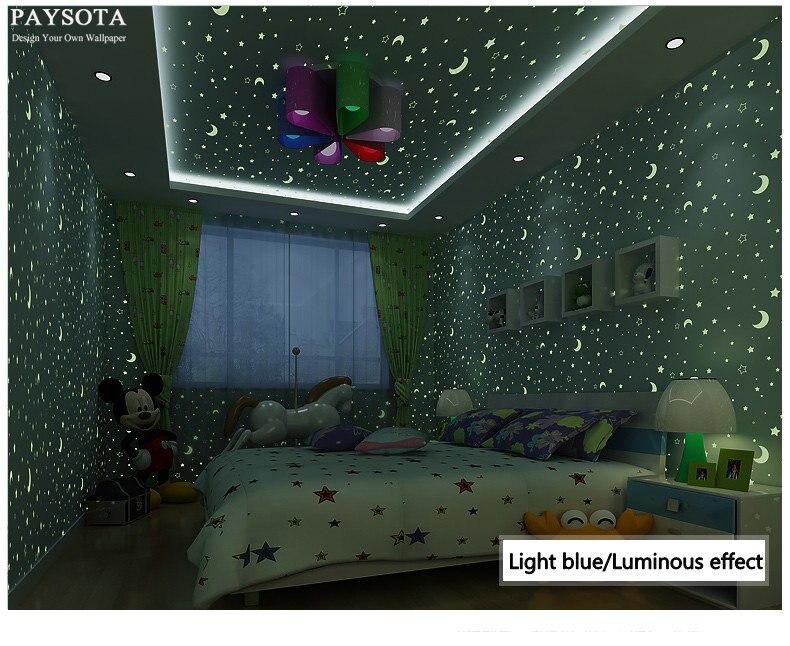 Papier Peint Papel De Parede Paysota Non-woven Wallpaper Luminous Moon Stars Children Bedroom Cartoon Fluorescence Wall Paper <br>
