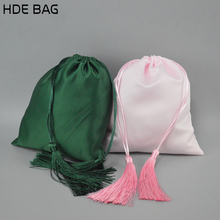 Extension Hair Storage Bag with Tassle Matte Elastic Satin Drawstring Pouch Dcustomized Own Logo Gift Package Bags