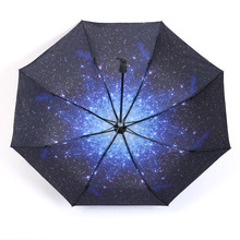 Clear Mbrellas Folding Umbrellas Sky Umbrellas Sun Protection Shading Solid Skeleton Mini Easy To Carry Blue Fantasy Sky Stars