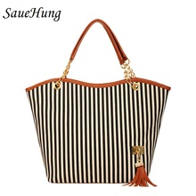 SaueHung Women Handbags Casual Tote Fashion Famous Brand Tassel Decoration Ladies Luxury Designer Top-handle Women Shoulder Bags(China)