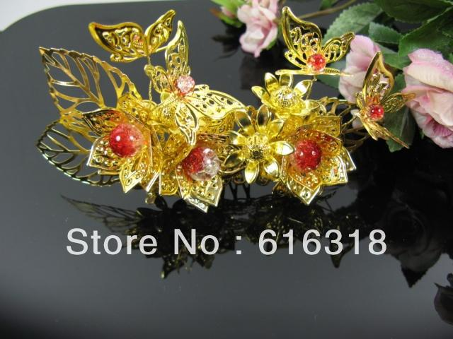 Flying Butterfly Love Lotus Ancient Hair Accessory Jewelry Gold Insert Comb with red crystal popcorn crystam beads hair comb <br>