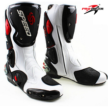 QUALITY RIDING Microfiber Motorcycle boots Men Pro SPEED Racing dirt bike Boots Knee-high Motocross Boots Riding Motorboats(China)