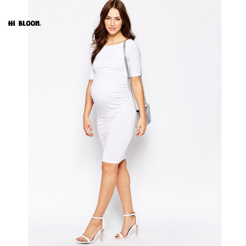Lovely Maternity Clothes Elegant Evening Dresses For Pregnant Women Loose Pregnancy Vestidos Maternity White Party Prom Dress<br>