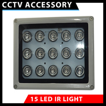 1pcs infrared 15 high power IR LED illuminator Infrared assist light for security CCTV Camera 850nm array led 100M waterproof(China)