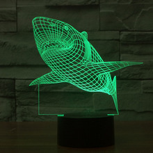 2016 New Creative Shark LED 3D Night Light Three-dimensional Kids Living Room Bedlamp Table Lamp 3D LED Bulbing Lamp Decorate