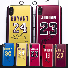 Brand Basketball Star Signature Jordan James Curry Bryant 3D Relief soft Case For iphone 7 8 6 6s Plus X 5s SE cover Coque Funda(China)