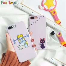 Fun Kays Moon Girl Black Cat Baby Letter Kitty Footprint Lovely Cute Soft Kawaii Phone Case Soft Slim Back Cover Dropship Shell(China)