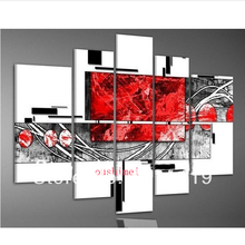 Top Skill Hand-painted Modern Abstract Red Black White Fine Wall Art Oil Painting on Canvas Hang Painting Craft for Home Decor