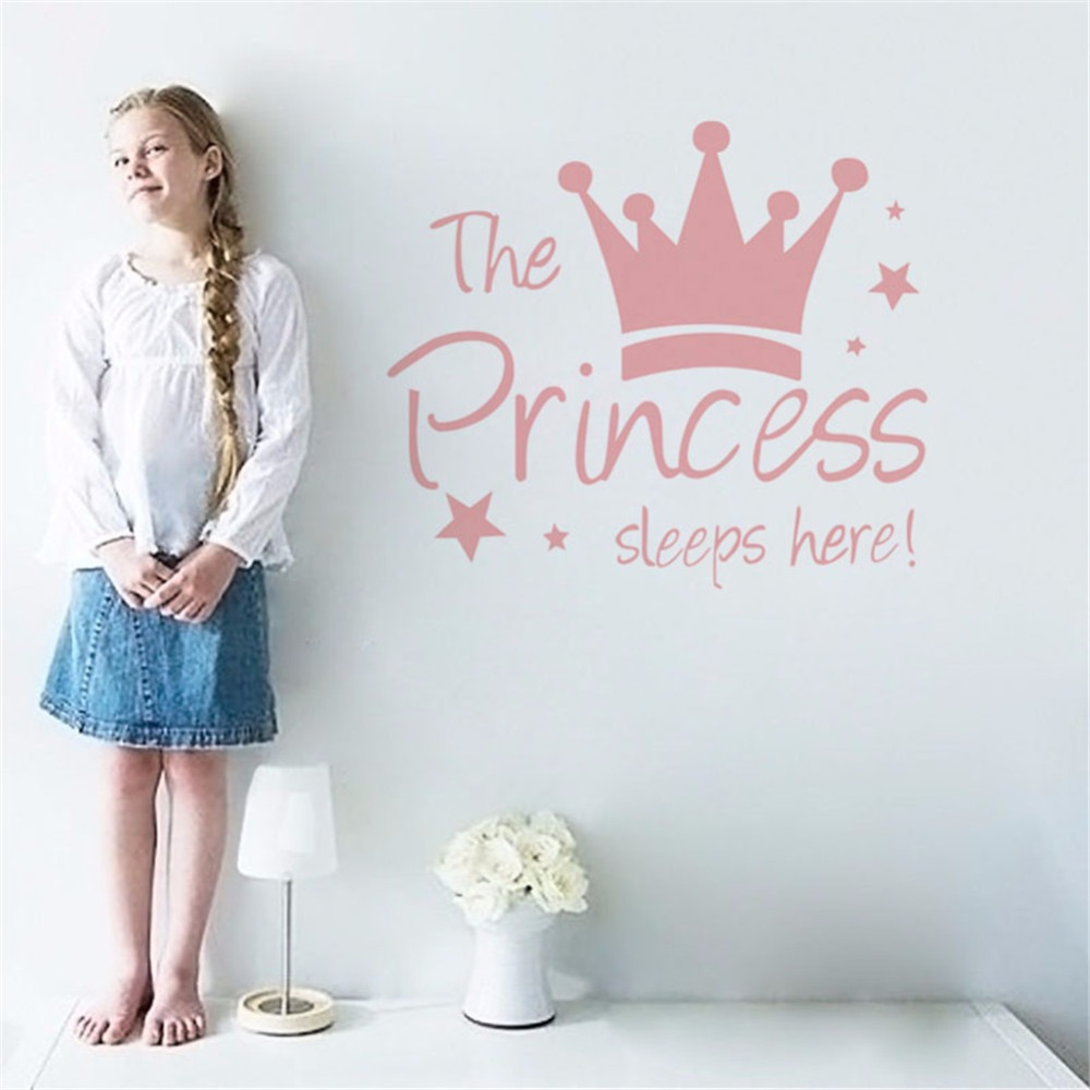 HTB1IBr.db I8KJjy1Xaq6zsxpXaQ - Yanqiao The Princess Sleeps Here Crown Pink Wall Sticker