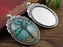 New Fashion  2pcs 30x40mm Inner Size Antique Silver Flowers Style Cabochon Base Setting Charms Pendant (B3-41)