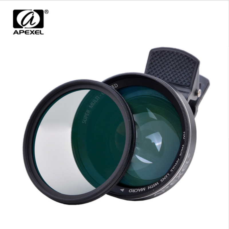 APEXEL Lens 2 1 0.63X Wide Angle Lens Clip 37mm Thread 12.5X Macro High Definition Mobile Phone Lens IOS Android