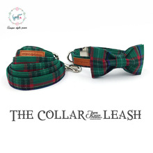 Fshion dark green  dog collar and leash set with bow tie  matel buckle   dog &cat necklace and dog leash  pet accessaries