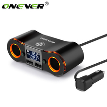 Onever 3.5A Dual USB Charger Car Cigarette Lighter Adapter 80W Power Socket Converter for DVR Car Voltage Display with 2 Switch(China)