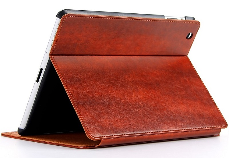 brown retro vintage leather smart cover case for ipad 2018 9.7 inch stand case