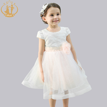 Nimble New Arrival Girl Princess Dress Embroidery Handmade flower Mesh Evening Dress for Girls
