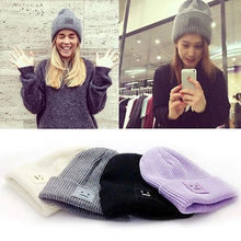 2016 New Fashion Casual Cute Hats Purple & Green Smile Wool Women Hats & Caps For Winter Chapeus(China)