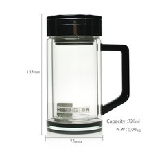 Double crystal glass office tea cups with high quality 320ml strong the cup bottom Shatterproof thermos with filter