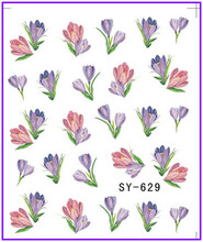 6 PACK/ LOT  GLITTER WATER DECAL NAIL STICKER FLOWER ROSEBUSH TULIP VIOLET SY627-632
