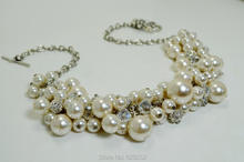 Ivory Pearl Cluster, Bauble, Ivory Pearl Rhinestones and Crystal, Chunky, Bridal Jewelry, Pearl Necklace MN004(China)
