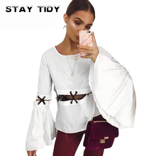 STAT TIDY Fashion O Neck White Women T Shirt Tops 2017 Autumn Patchwork Flare Sleeve Hollow Out Casual Female Tees Tops