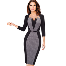 Women Elegant Optical Illusion Patchwork Contrast Sashes Belted Vintage Slim Work Office Business Party Bodycon Dress EB405(China)