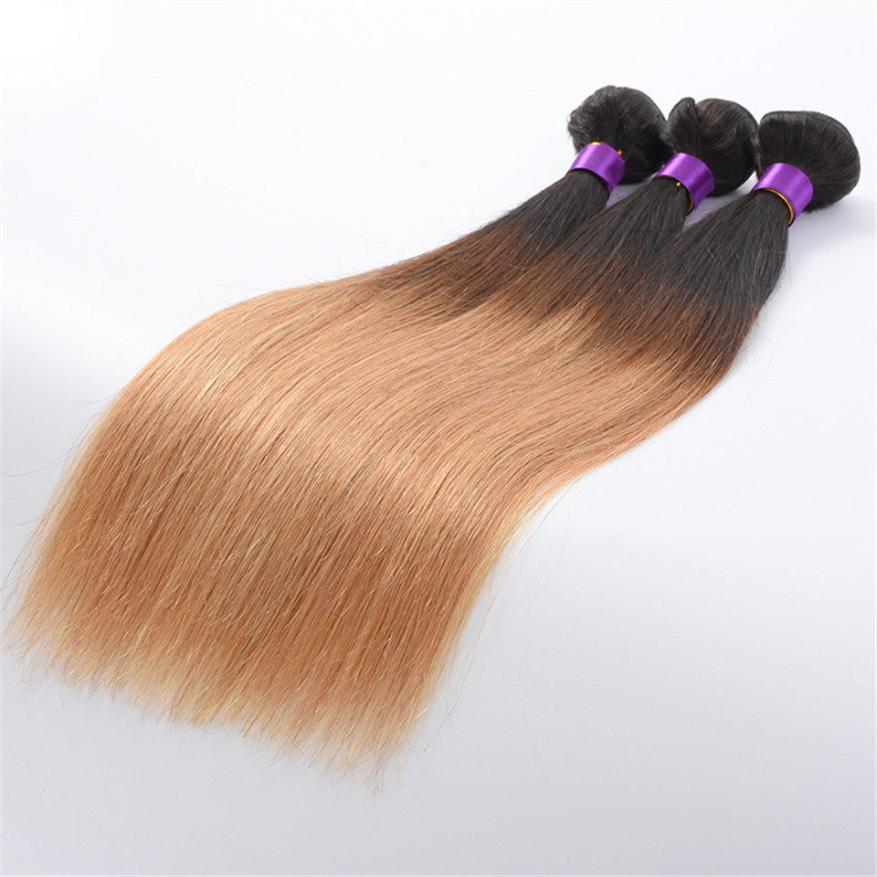 Luduna #1B/27 Peruvian Straight Hair Ombre Hair Extensions 1Piece 100% Human Hair Bundles 2 Tone Non-remy Hair Weave Thick Weft