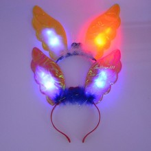 2017 Angel Ear Light Up Headband Flashing Blinking LED Wedding Rave Party Glow Halloween Christmas(China)