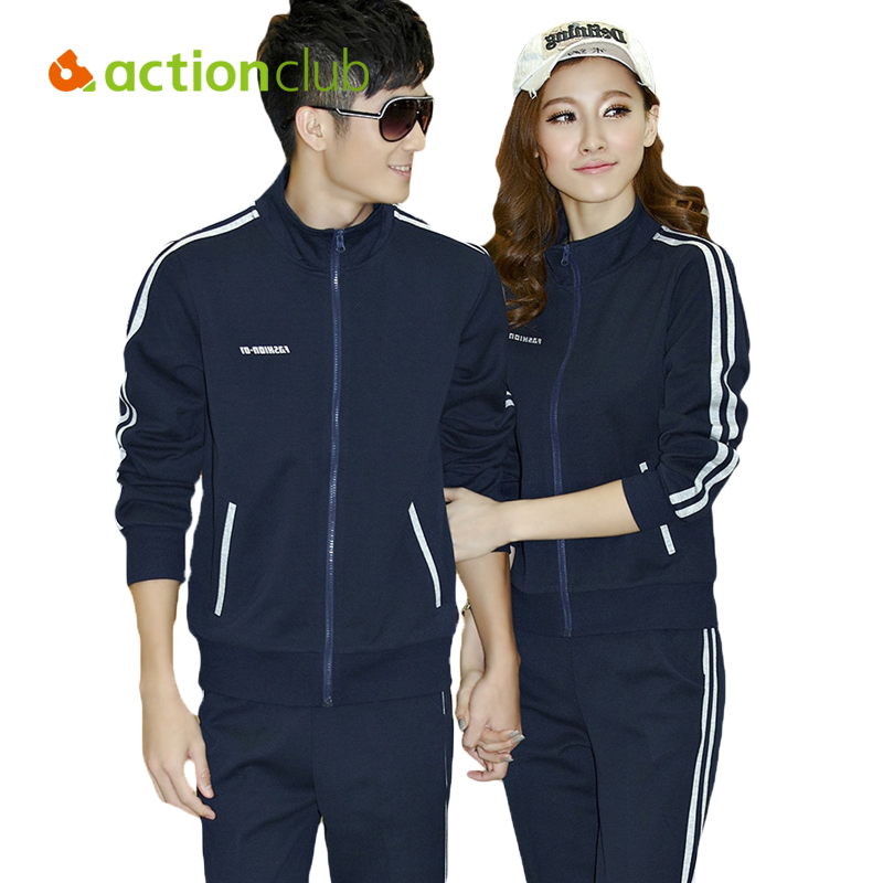Actionclub Running Sets For Fitness Tracksuit Woman Man Counple Sport Suit Coat Pants Two Pieces Outdoor Sportwear SR280<br>