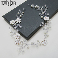wedding romantic white Enamel flower Headband With Beads pearl knitted braided handmade hairband bridal hair accessories(China)