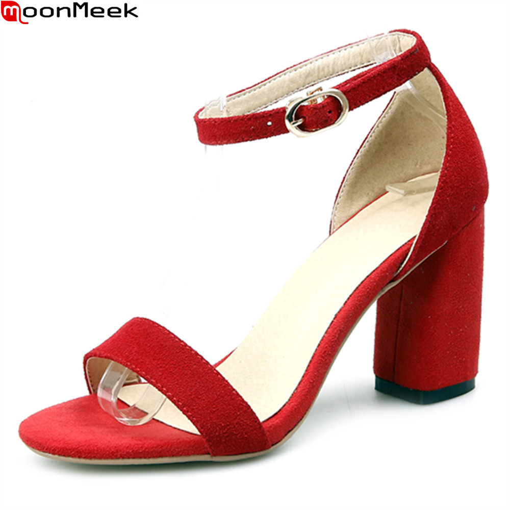 MoonMeek 2018 summer casual shoes round toe extreme high heel with buckle square heels party shoes sexy women sandals<br>