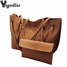 Soft Leather Women Bag Set Luxury Brand 2017 Fashion Designer Female Shoulder Bags Big Casual Bags Set Handbag High Quality(China)