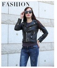 Free shipping,fashion slim Genuine leather women short jackets.Spring motorbiker plus size sheepskin jacket Brand classics