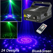 New Night Club Lighting Mini Laser Light 24Designs Blue Green Stage Effect Party Decoration Efectos De Luces De Discoteca Lazer(China)