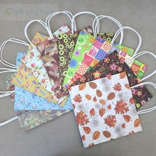 10pcs Vintage Floral Stand up Paper Tote Bag, Candy Wedding Gift Carry Bag Shopping bag 10 colors 3 sizes optional