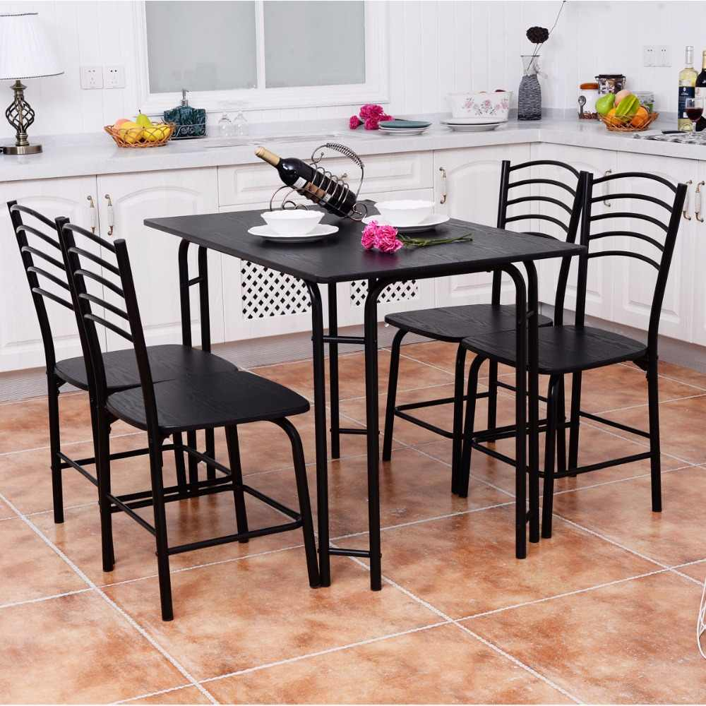 Goplus 5 PCS Black Dining Room Set Modern Wooden Dining Table with 4 Dining  Chairs Steel Frame Home Kitchen Furniture HW54791