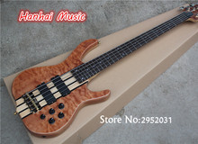 Hot Sale Custom 5-String Bass Guitar with Quilted Maple Veneer,24 Frets,Original Wilkinson Hardware,Active Circuit,can Custom