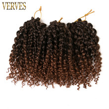 brown crochet braids hair synthetic Kinky Twist 9 piece 8'' kinky style ombre braiding hair curly VERVES Crochet Hair Extensions(China)