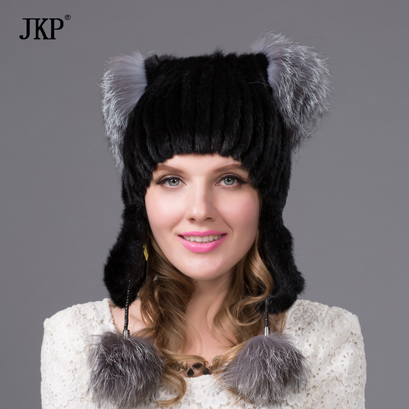 2017 New Style Mink Point Fur Hats Women's Fur Bomber Hats with Silver Fox Fur Tops Winter Ear Fur Protect Caps  DHY-24
