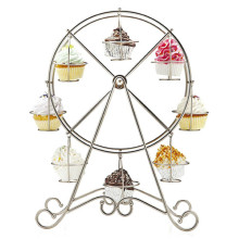Practical Ferris Wheel 8 Cups Silver Stainless Steel Cupcake Stand Cake Holder Display Party Supplies(China)