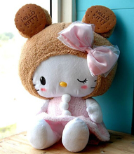 Gift for baby 1pc 50cm bowknot cookies hello kitty plush hold doll cushion pillow creative birthday stuffed toy(China)