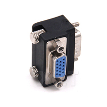 High Quality 10pcs/Lot 90 Degree Down Right Angled VGA SVGA Male To VGA 15Pin Female Monitor Adapter for PC Laptop TV
