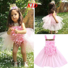 Summer Fashion Baby Girl Bodysuit Pink 3D Flowers Sequins Backless Bodysuits Mesh TUTU Onesie Dress Infant Toddler Clothes KD737