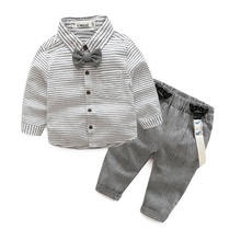 newborn baby clothes gentleman baby boy grey striped shirt+overalls fashion baby boy clothes(China)